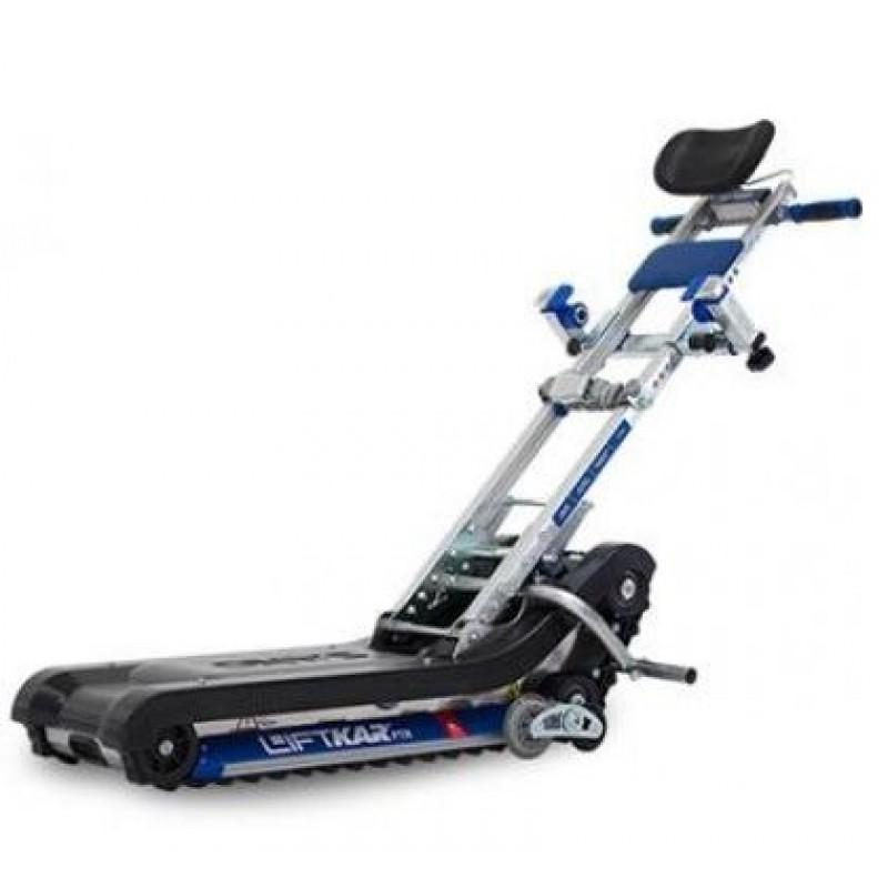 履帶式輪椅上落樓梯機